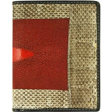 Genuine stingray and snake wallet STW53TH Red / Natural