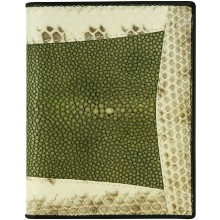 Genuine stingray, snake wallet STW53TH-SA Dark Green / Natural