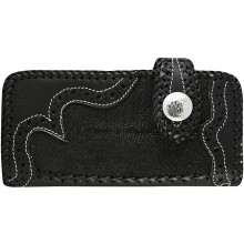 Genuine stingray and cow leather wallet STWLF364 Black