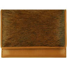 Genuine goat leather with hair on wallet TD1071 Brown