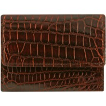 Genuine crocodile leather wallet UAMC28 Cognac