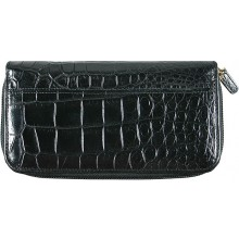 Genuine crocodile leather wallet WN0108 Black