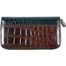 Genuine crocodile leather wallet WN0108 Maroon / Black
