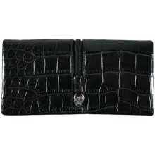 Genuine crocodile leather wallet WN02107 Black